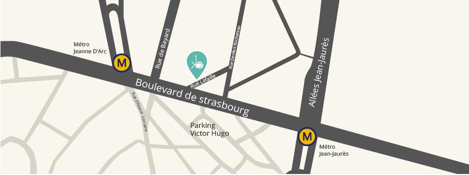 Plan d'accès au Cabinet KB7 45 rue Raymond IV, près de la place Jean d'Arc à Toulouse.